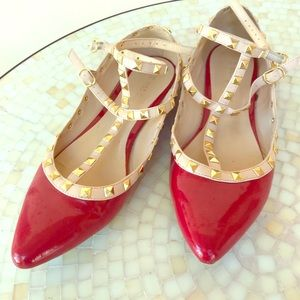 Wild Diva Pyramid stud strappy red flats